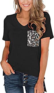 Women's Casual V-Neck Leopard Print Pocket Stitching Short-Sleeve T-Shirt Slim Versatile Top