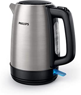 PHILIPS New Daily Metal Kettle HD9350/92, 1800W, Plastic spring lid, 1.7L, Pilot light, Extra large opening, Water level i...