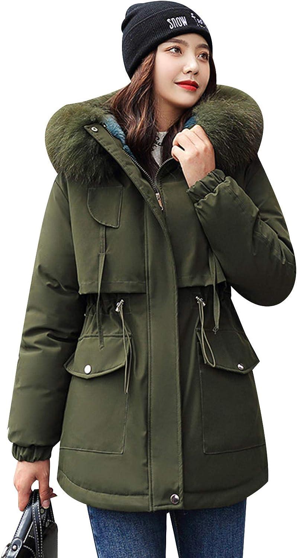 Jamron Women's Thickened Parka Jacket Warm Winter Faux Fur Hooded Overcoats