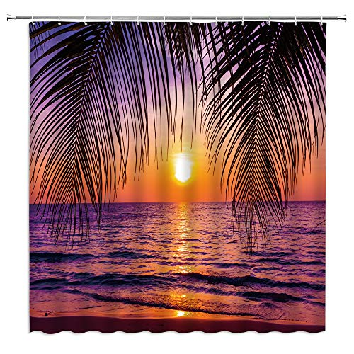 Ocean Sunset Shower Curtain Tropical Beach Ocean Palm Tree Leaf Sunrise Sunset Theme Orange Sky Sea Water Wave Nature Scenery Fabric Bathroom Decor Set 70 x 70 Inches with Hooks