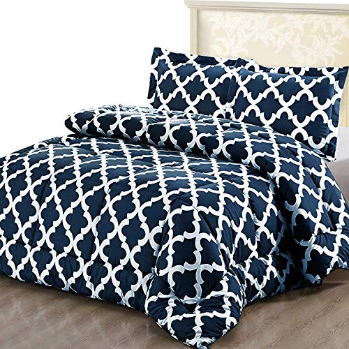 Utopia Bedding Printed Comforter Set (Queen, Navy) with 2...