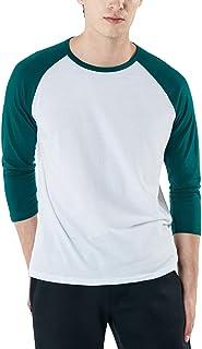 TSLA Men's Long Sleeve Shirts, Dynamic Casual Soft Cotton T-Shirts & 3/4 Sleeve Baseball Shirts, Cool Dry Outdoor Work Shirt