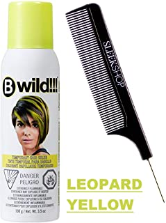 Jerome Russell B WILD Temporary Hair Color Aerosol Spray, Vibrant Chalk Colors (w/Sleek Steel Pin Tail Comb) Haircolor Dye Hairspray (Leopard Yellow)