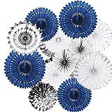 12PCS Navy Blue Silver Hanging Paper Fan Rosettes Party Garland for Boy Baby Shower Wedding Bridal Shower Graduation Bachelorette Celebrate Decoration