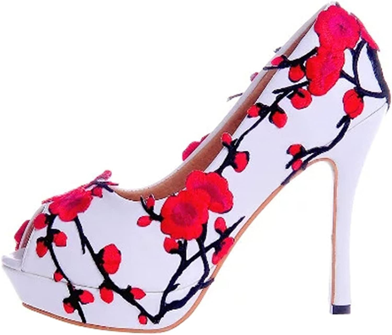TDA Women's Beautiful Plum Flower Wedding Party Dress Stiletto shoes