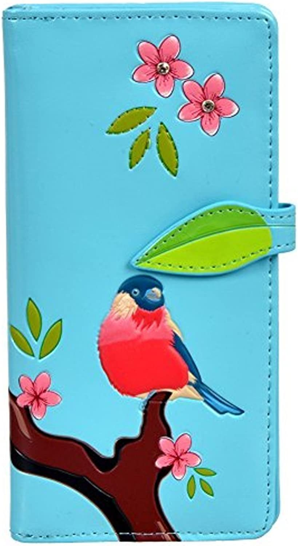 Shagwear Women's Large Zipper Wallet Red Chested Bird Sky bluee