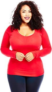 Womens Ladies Plus Size Curvy Cotton Basic V-Neck Long Sleeves Tops (xl, scarlet red)