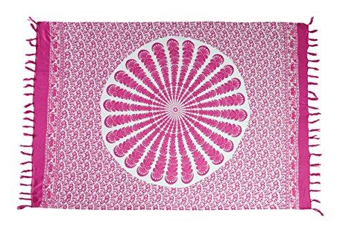 Ciffre Sarong Pareo Wickelrock Strandtuch Tuch Schal Wickelkleid Strandkleid Ibiza Muster Paisley Pink + Schnalle