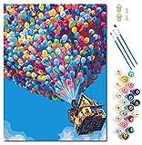 Tenwind Malen Nach Zahlen Erwachsene Kinder,DIY Handgemalt Ölgemälde Kits auf Leinwand Geschenk für Freund Weihnachten Geburtstag Home Haus Deko-Ohne Rahmen 40 * 50 cm(Bunte Ballons)