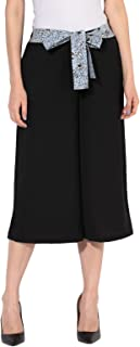 BESIVA Women's Black Solid Casual Culottes with Printed Blue Belt