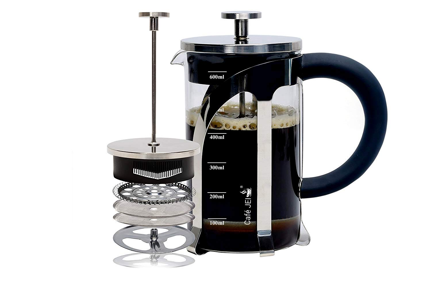 Cafe JEI French Press Coffee and Tea Maker 600ml with 4 Level Filtration System, Heat Resistant Borosilicate Glass, (Silver, 600ml)