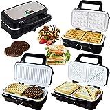 Syntrox Germany 3 in 1 Keramik Multi Sandwichmaker + Waffeleisen + Kontaktgrill mit 3 Wechselplatten