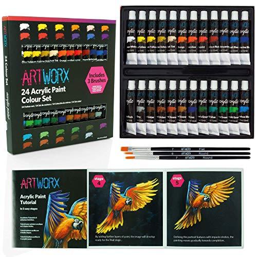 Caja de 24 tubos de pintura acrílica de Artworx (cada tubo contiene 12 ml)