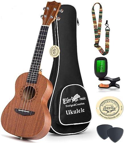 Everjoys Concert Ukulele Mahogany - 23 inch Professional Wooden Ukelele Free Online Lesson Uke Strap Case Digital Tun...