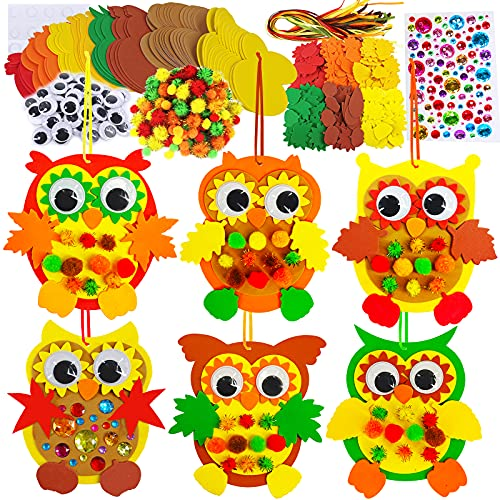 24 Sets Foam Owl Decorations DIY Owl Fall Craft Kit Assorted Foam Owl Shapes with Autumn Leaves Pumpkins Sunflower Googly Eyes Pom-Poms for Kids Halloween Thanksgiving Holiday Classroom Activities