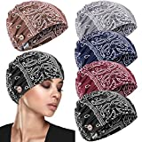 5 Pieces Bouffant Caps with Button Beanie Cap with Buttons Women Stretchy Button Beanie Caps Headband Turban Skull Cap Beanie with Ear Loop Holder Buttons