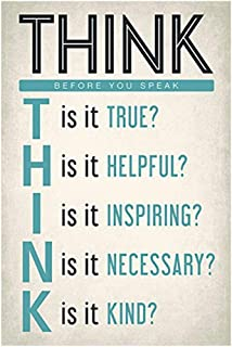 Ouken Think Before You Speak, motivational classroom poster