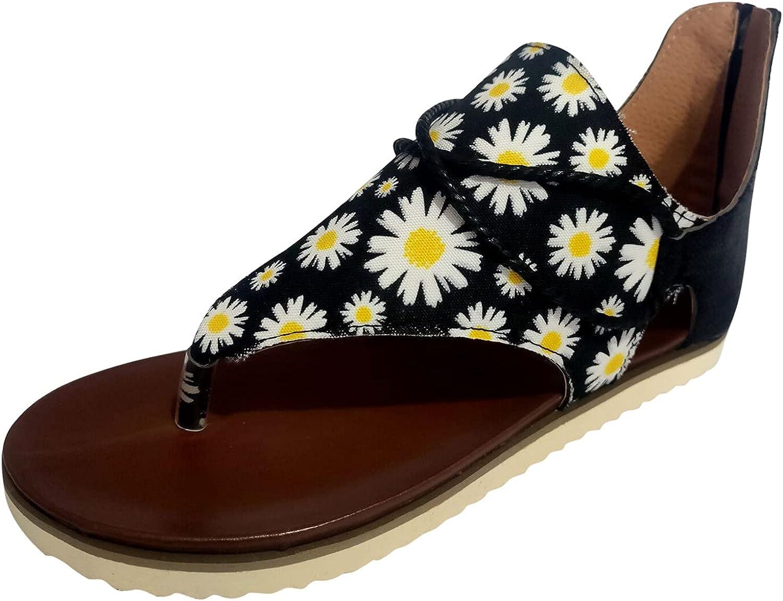 FAMOORE Women Summer Flowers Print Zipper Shoes Flat Beach Open Toe Breathable Sandals