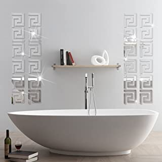 ITTA 28pcs 10x10cm Mirror Stickers, DIY Peel & Stick 3D Acrylic Maze Pattern Border Ceiling Stickers Mirror Effect Wall Decor Home Art Mural Wedding Room Hotel Decal (Silver 1)