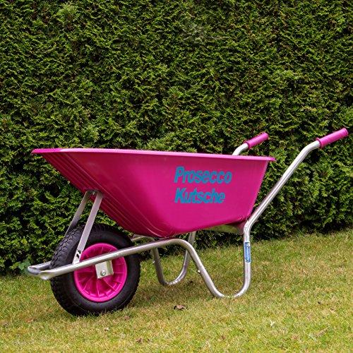 TrutzHolm® Schubkarre Pink Proseccokutsche PP 100 l 250kg Bau Karre Gartenschubkarre Bauschubkarre Schiebkarre Garten