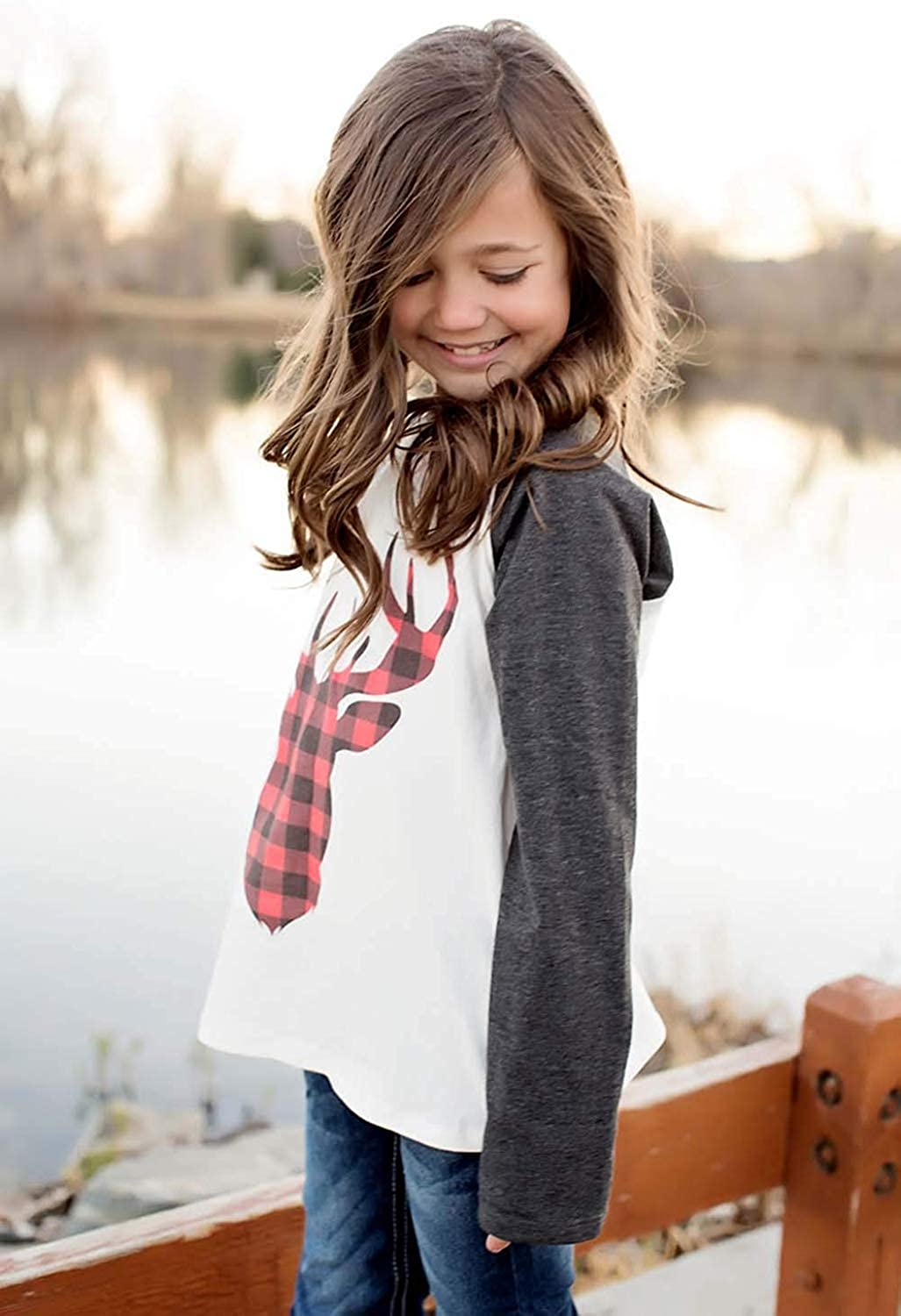 Christmas Outfits Mommy and Me Fashion Deer Print Long Sleeve T Shirt Blouse Tops Matching Family Outfits