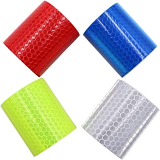 Viewm Reflective Tape 3m Reflective Warning Tape Safety Reflector Tape, 2 inches × 3.28 yard, 5 cm × 3 m Per Roll, 4 Rolls Blue+Yellow+Sliver+Red