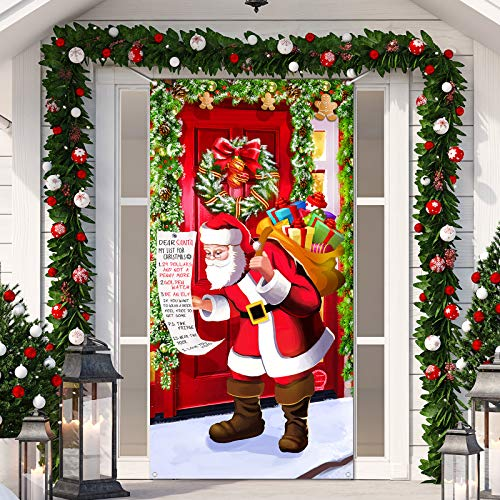 Christmas Door Cover Decoration, Santa Door Hanging Banner Funny Xmas Background Santa Claus Backdrop Christmas Party Decorations Photo Booth Prop for New Year Christmas Eve, 70.9 x 35.4 Inch