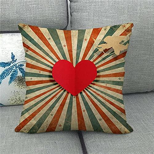 Dafang Red Love Mood Love Día de San Valentín Funda de Almohada de Abrazo de Lino Funda de Almohada de Abrazo s Suministro 1498-8_45 * 45cm