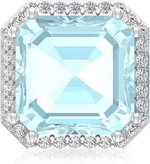 4.2 Ct Blue Topaz Sky Stud Earring, Asscher Shape Gemstone Statement Earring, IGI Certified Diamond Wedding Earring, IJ-SI Diamond Bridal Earring, Screw Back