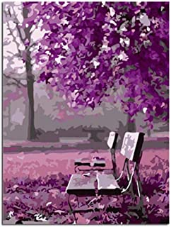 xuxut Purple Landscape Art DIY Digital Painting by Numbers Modern Wall Art Canvas Painting Acrylic Paint Unique Gift For Home Decor-50X65Cm_Frameless