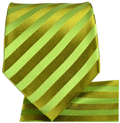 Cravate vert rayé ensemble de cravate 3 Pièces (100% Soie Cravate + Mouchoir + Boutons de manchette)