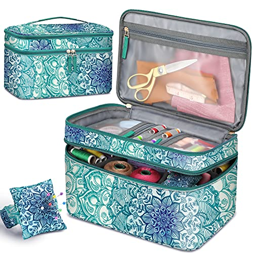 FINPAC Sewing Accessories Storage and Organizer Case, Double-Layer Sewing Kits Carrying Bag with Wrist Pin Cushion for Threads, Needles, Embroidery Floss Supplies, Felting Kits (Emerald Illusions)