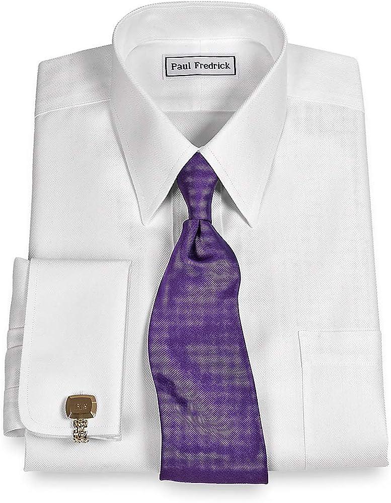 Paul Fredrick Men's Slim Fit Non-Iron Cotton Solid Straight Collar Dress Shirt