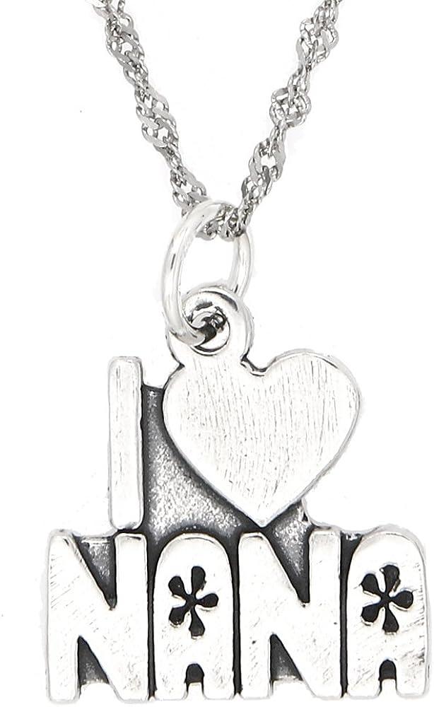 Sterling 倉 Silver Oxidized I Love Nana Thin 大人気 Charm N Singapore with