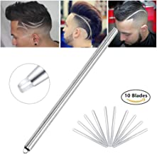 Hair Tattoo Trim Razor Pen, for Hair Design Face Shaping, Engraved Pen/ 10 Blades/Tweezer, Eyebrows Beards Razor Styling Tool