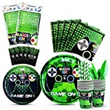 WERNNSAI Video Game Party Tableware Set - Game Theme Party Supplies for Boy Game Players Geeks, Includes Cutlery Bag Table Cover Plates Cups Napkins Straws Utensils Serves 16 Guests 146 PCS