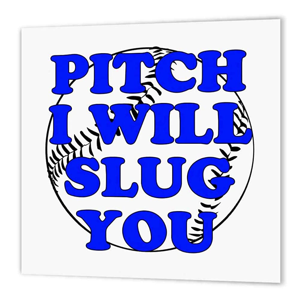 3dRose ht_173312_2 Pitch I Will Slug You. Blue. Baseball. Softball-Iron on Heat Transfer Paper for White Material, 6 by 6-Inch