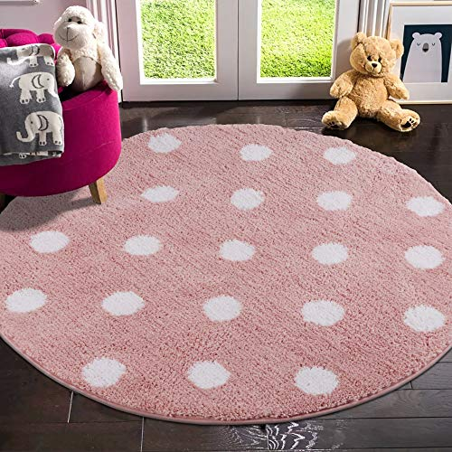 Pink with White Dots Round Area Rug For Baby Nursery 3 ft Round