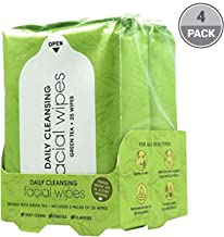 Green Tea Facial Cleansing Wipes - 100 Count of Hydrating Face Wipes from BeautyFrizz - Green Tea Wipes with Olive Oil & Grapes - Gentle Face Wipes to Fight Grime - Makeup Wipes for All Skin Types