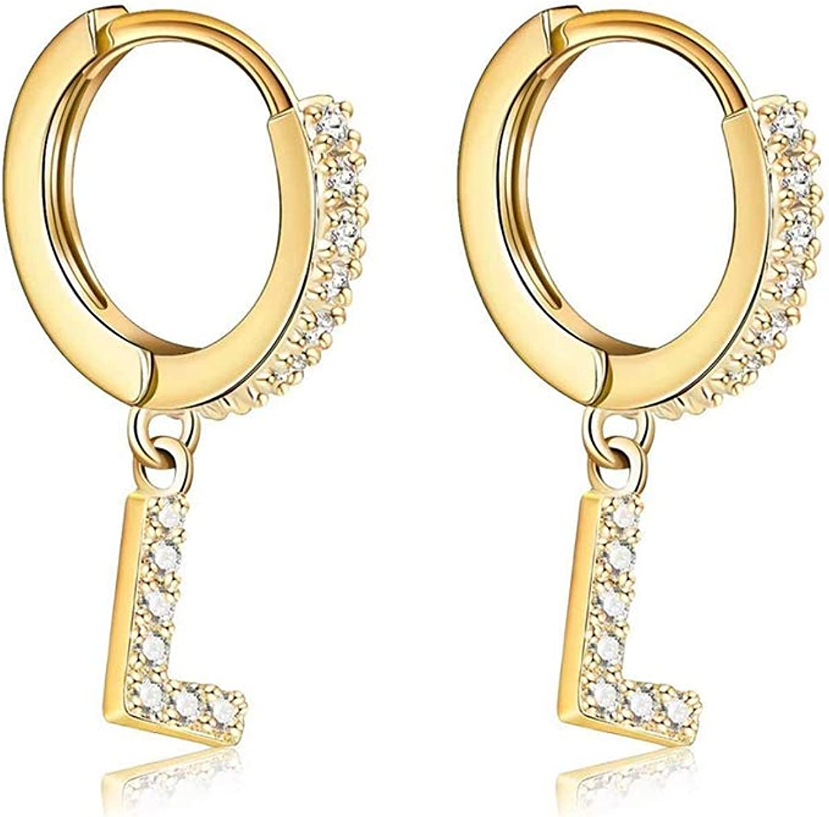 Our shop most popular 14K Gold Plated Cubic Zirconia Earrings Small Initial Ranking TOP17 Delicate H