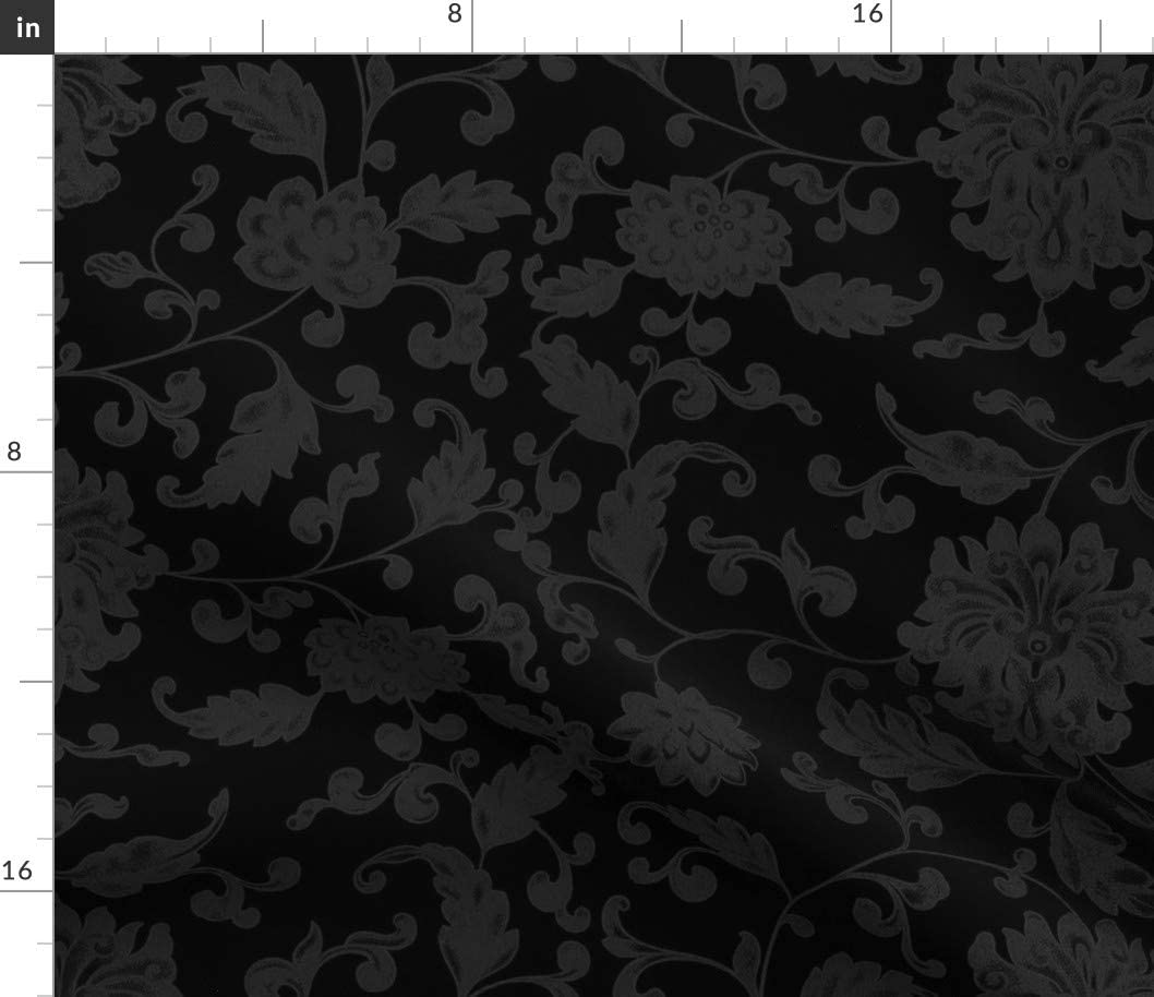 Spoonflower Fabric - Damask Black Prin Asian Goth Floral Chinese NEW San Jose Mall