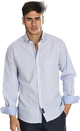 Camisa Manga Larga con Rayas Finas de Color Azul Celeste y ...