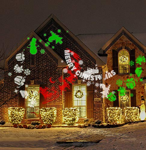 LOKATSE HOME Christmas Projector LED Lights Outdoor Night Decorative for Garden Patio Wall Xmas Holiday Party, Multi-Patterned