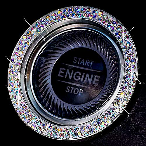 Rainbow Bright Bling Ring for Car Push Start Button Ring Accessories -New 2020 Style - Double Line Rhinestone Diamonds Easy Apply Sticker for More Bling Interior Car Decor Gifts for Women (Rainbow)