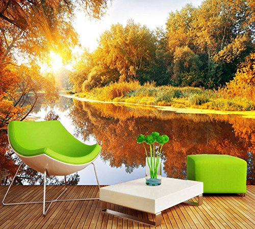 Mznm Romantic Warm And Picturesque Tv Background Wall Custom 3D Mural Living Room Hd Wallpaper Autumn Scenery Wallpaper-120X100Cm