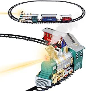Electronic Classic Train Set for Kids with Headlight, Realistic Sound, Smoke, Toy Train for Kids, 1 Locomotive, 2 Compartments, 10 Railway Tracks, Gift for Boys Girls Age 5+, Christmas Tree Decoration