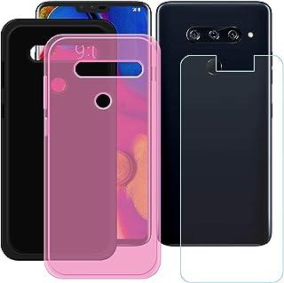 YZKJ [2 stycken skydd för LG V40 ThinQ Cover svart + rosa mjuk silikon skyddande skydd TPU skal fodral 1 x pansarglas skär...