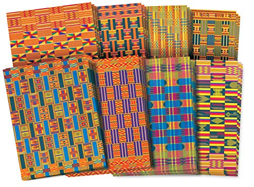 Roylco Assorted Design African Textile Paper, 8-1/2 x 11 Inches, Pack of 32
