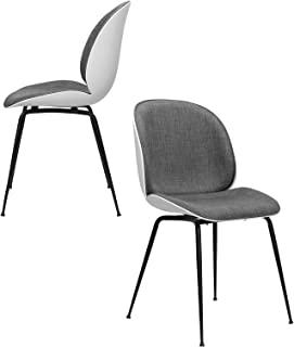 Whitney Mid Century Modern Beetle Side Chairs, Set of 2 - Upholstered and Commercial Grade (Dark Grey)