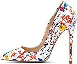 Womens Stiletto Heels with Doodle Sexy High Platform Pointed Toe Wedding Dress Pumps Formal Office Shoes for Ladies